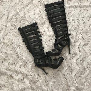 Shoes - Vegan knee high Gladiator high heels, size 7